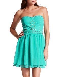 Studded Chiffon Tube Dress from charlotte russe!