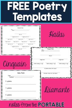 Poetry Styles to Engage Readers and Writers I love these FREE poetry templates! So easy to teach haiku, cinquain, and…I love these FREE poetry templates! So easy to teach haiku, cinquain, and… Teaching Poetry, Teaching Language Arts, Teaching Writing, Poetry Unit, Writing Poetry, Poetry For Kids, Haiku Poems For Kids, Poetry Activities, 5th Grade Activities