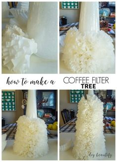How to Make a Coffee Filter Tree This tutorial walks you through the steps to make a coffee filter Christmas tree. It's a stunning project that is so easy and affordable! Find it at diy beautify! Coffee Filter Wreath, Coffee Filter Crafts, Coffee Filter Flowers, Coffee Filters, Coffee Filter Projects, Christmas Tree Crafts, Christmas Projects, Holiday Crafts, Christmas Wreaths