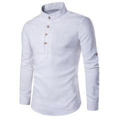SHARE   Get it FREE   Stand Collar Cotton Linen Long Sleeve ShirtFor  Fashion Lovers only 8b71a79604