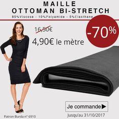 ** 7 Jours - 1 Prix - 1 Produit *** Profitez de notre promo aujourd'hui à -70%! Maille Ottoman bi-strech à 4,90€ le mètre au lieu de 16,50€. Cliquez ici : http://www.tissus-de-reve.fr/  Bi-strech, ce tissu est agréable à porter et permet la création de vêtements, tels que des robes, pantalons, jupes ...