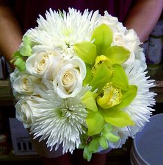 White Roses and Fuji Mums with Green Cymbidium Orchids