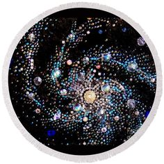 Galaxy beadwork bead embroidery Round Beach Towel by Sofia Metal Queen. The beach towel is in diameter and made from polyester fabric. Crystal Embroidery, Beaded Embroidery, Cross Stitch Embroidery, Embroidery Patterns, Star Outline, Thread Painting, Sun And Stars, Embroidery For Beginners, Textiles