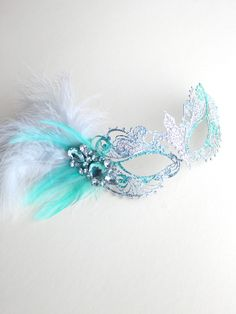 Unique Mint Green & Silver Metal Filigree Pretty Masquerade Mask