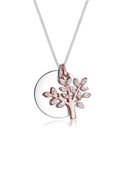 Elli necklace in 925 sterling silver and a rose gold plated tree with  sparkling Swarovski® crystals.