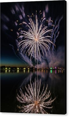 Color Splash Canvas Print featuring the photograph Fireworks 18 by Tom Clark