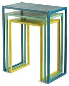 love the colors!  Metal Nesting Tables - by Grandin Road  #tables