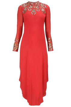 NAMRATA JOSHIPURA Deep red sequin embroidered asymmetrical tunic only at Pernia's Pop-Up Shop.