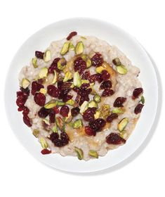 Dried fruit and nuts are typical oatmeal garnishes; mix things up with a variety of fruit (cranberries, cherries) and an unexpected nut (pistachio). Get the recipe for Oatmeal With Dried Fruit and Pistachios.