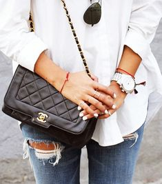 Silver watch, white button-down, black purse: sometimes less is more!!!