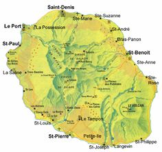 Map of Reunion, off the Eastern coast of Africa Volcan Reunion, St Leu, Reunion 974, French West Indies, Saint Denis, France, Caribbean Sea, French Polynesia, Good Books