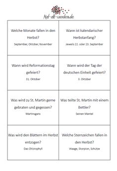 Das große Herbstqui – Join in the world of pin Good To Know, Classroom, Education, Ab Sofort, Puzzle, Posts, Link, Biography, Elderly Care
