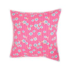 Pink Floral Kantha Embroidered Pillow #huntersalley