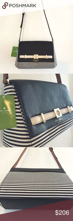 """♠️Kate Spade """"Shane Houston Street Fabric"""" Purse BRAND NEW stunning ♠️Kate Spade Crossbody purse. Black leather, off white and black striped fabric, brown adjustable strap. Pink interior with two open, and one zipped pocked. Magnet closure. Gold hardware. Excellent condition. kate spade Bags Crossbody Bags"""
