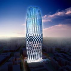 Zaha Hadid Architects have designed a high-rise building for the center of Bucharest, Romania, which has a structural, lattice façade.