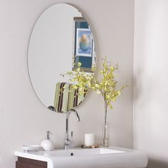 Decor Wonderland Frameless Oval Scallop Beveled Mirror *** Click image to review more details. (This is an affiliate link and I receive a commission for the sales)