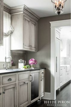 Grey Kitchen Cabinet with Red Wall. Grey Kitchen Cabinet with Red Wall. Kitchen Red Brick Backsplash and Wall Grey Cabinets Grey Kitchen Walls, Dark Kitchen Cabinets, Kitchen Cabinet Colors, Grey Kitchens, Grey Cabinets, Painting Kitchen Cabinets, Kitchen Paint, Kitchen Colors, Cool Kitchens