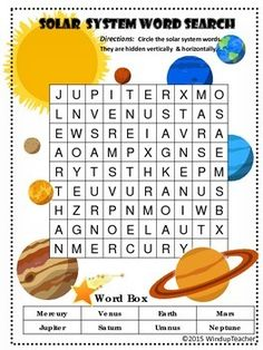 Easier: Words are hidden vertically and horizontally only. Harder: The 8 planets in our Solar System are hiding in this puzzle in any directio. Solar System Games, Solar System Worksheets, Solar System Activities, Our Solar System, Social Studies Worksheets, Science Worksheets, Worksheets For Kids, Science Activities, Science Topics