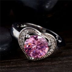 Silver Plated Pink Heart And Cubic Zircon Stone Ring Various Sizes