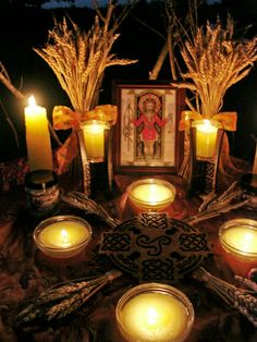 Oh, this is the prettiest Lughnasadh altar I've seen so far! | Lughnasadh 2010- One of my most favorite set ups I have ever done. :)