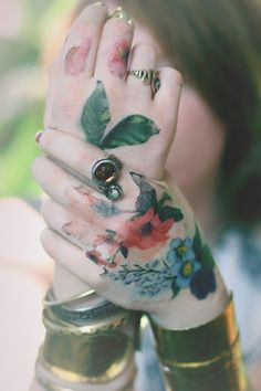 Modern hippie flower tattoos for a boho chic