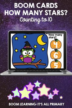 """Students can counting these """"non-scary"""" stars for Halloween! The stars range from 0 to 10. There are 4 types of questions: - how many? - which picture has more/less stars? - drag stars onto the picture - click the pictures that are the same/are not the same Audio instructions provided. Boom Cards are great for online learning, math centres, and whole class instruction. No Prep, Self-Grading!"""