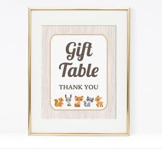 Gift Table Shower Sign Woodland Animals Baby by LAPrintables