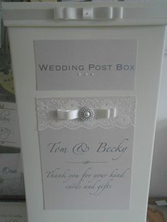 Gorgeous pearl and lace wedding post box x www.uberflyinvites.co.uk