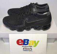 5b5ba3b85be2a Nike Air Vapormax Flyknit Triple 849558-007 Black Anthracite Dark Grey  Platinum