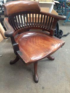 Antique Vintage Wooden Captains Office Desk Swivel Chair