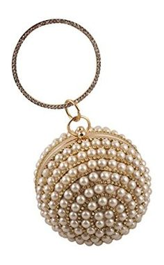 Beautiful pearl beaded round ball evening bag is perfect for any party or special occasion!