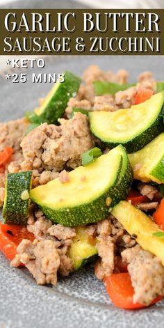 Breakfast Sausage Recipes, Italian Sausage Recipes, Veggie Vitamins, Zucchini, Easy Skillet Meals, Gluten Free Dinner, Low Carb Keto, Keto Recipes