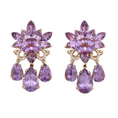 A Pair of Rose Gold, Amethyst and Diamond Pendant-Earclips