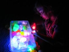 glow in the dark discovery sensory play, great for autism, great for all children