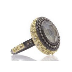 Carved Oval Stack Ring with Painted Mother of Pearl Doublet  Old World blackened sterling silver and 18k yellow gold oval carved Mother of Pearl/Quartz doublet painted stack ring with champagne diamonds. Diamond Weight 0.26ct https://facebook.com/DiamondDreamFineJewelers https://twitter.com/Diamond_Dream_ https://instagram.com/diamonddreamjewelers