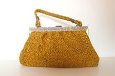 Vintage Fabric Handbag Metal Frame Autumn Colors