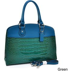 Dasein Two-tone Patent Croc-embossed Satchel ($58) ❤ liked on Polyvore featuring bags, handbags, black, handbag satchel, tablet pouch, crocodile handbags, cell phone purse and croc handbags