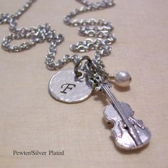 Jillian/ Christmas Personalized Violin Charm Necklace - Pewter and Silver Plated - Music Jewelry - Birthstone