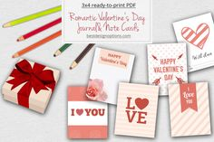 A set of free printable journal and note cards with matching gift tags in simple pink designs. Useful for celebrating Valentine's Day, wedding, engagement, etc.