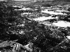 Verdun - The Battle of Verdun ran for much of 1916 in the hills of northeast France. It was fought between German and French troops, and remains the longest battle in human history, with total casualties estimated to have numbered between 700,000 and one million. This photo taken circa 1917-1918 shows a World War I battlefield near Verdun, France, with holes made by bombs filled with water.