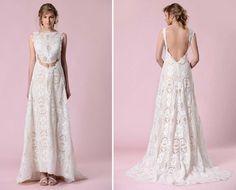 vestido de noiva em renda e barriga descoberta de gemy maalouf 2016