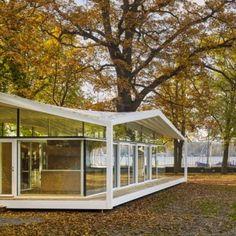 Barkow+Leibinger's+Fellows+Pavilion+offers++study+spaces+in+a+lakeside+garden