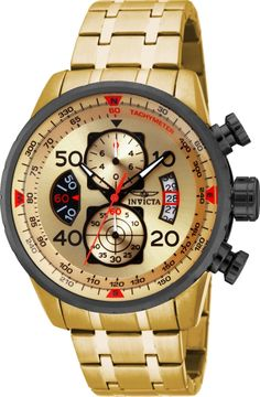 ae7fd02441d Invicta Men s 17205 AVIATOR 18k Gold Ion-Plated Watch