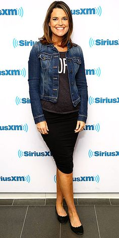 Last Night's Look: Love It or Leave It? Vote Now! | SAVANNAH GUTHRIE | wearing a slogan tee, denim jacket, black pencil skirt and scalloped flats during a visit to the SiriusXM Studios in N.Y.C.
