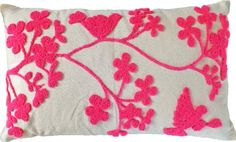 """Amazon.com - Decorative Special Embroidery Flower & Bird Floral Throw Pillow COVER 20x12"""" Pink -"""