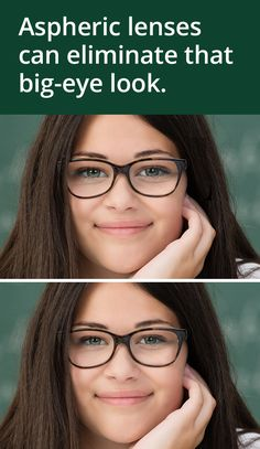 Aspheric lenses can reduce the magnified bug-eyed look. Can you spot the difference? All About Vision, Daily Contact Lenses, Eye Facts, Medical Laboratory Science, Eyeglass Lenses, Optical Shop, Eye Doctor, Human Eye, Optician