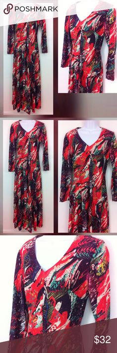 """1970's fab psychedelic foliage & flower maxi Dark blue - bright red with splashes of light teal purple and yellow. Back zipper and tag size 12 but more like an today's 8. Long sleeves and fabric is a nylon blend of some sort. Bust 37"""", waist 29"""", hips 50"""" as this is a big skirt, and 53"""" long. No flaws and fabric might be acetate . Vintage Dresses"""