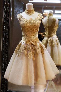 lace prom dresses gold prom dresses short prom dress by okbridal Gold Prom Dresses, Homecoming Dresses, Short Dresses, Bridesmaid Dresses, Gold Dress, Evening Dresses, Dresses 2014, Dress Prom, Dama Dresses