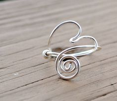 Wire Ring Floating Heart