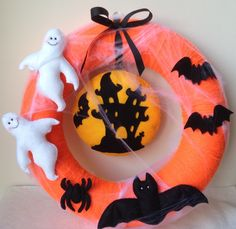 Halloween Wreaths-Ghost-Bat-Spider-Decoration-Halloween Decor by feltncuddles on Etsy